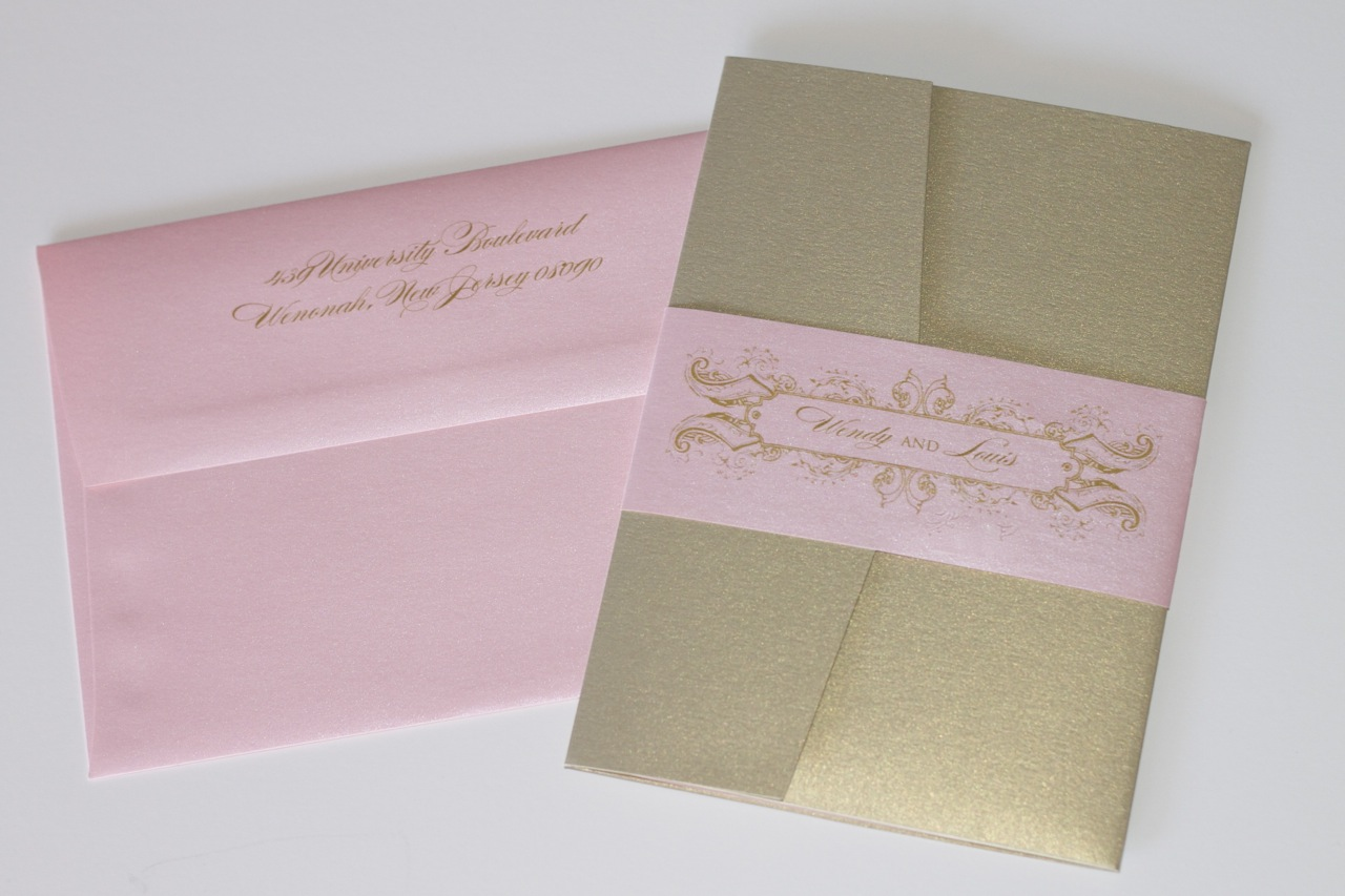 Grace Style Wedding Invitation In Light Pink, Gold And Ivory   Embellished  Paperie LLC