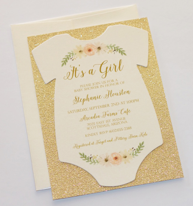 Onesie baby shower invitations embellished paperie llc the boy invitation has a modern feel with stripes and a bow tie since glitter has been so popular i decided to add a glitter backing to these filmwisefo