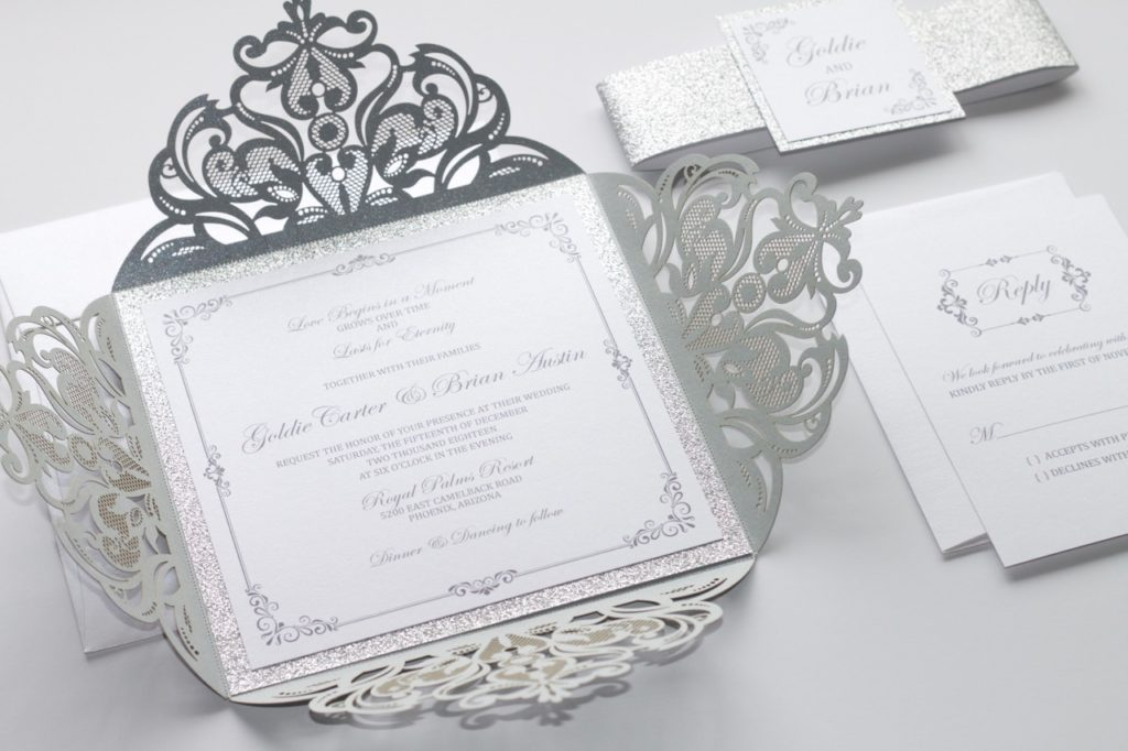New Laser Cut Wedding Invitation In White Amp Silver