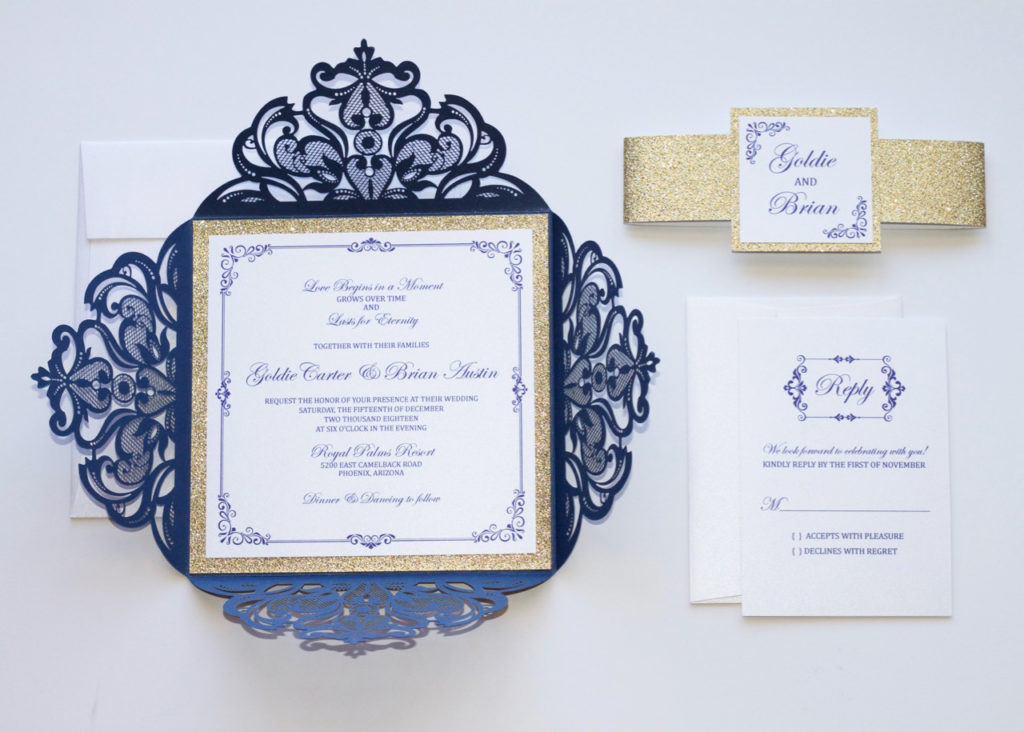 navy blue and gold glitter laser cut wedding invitation