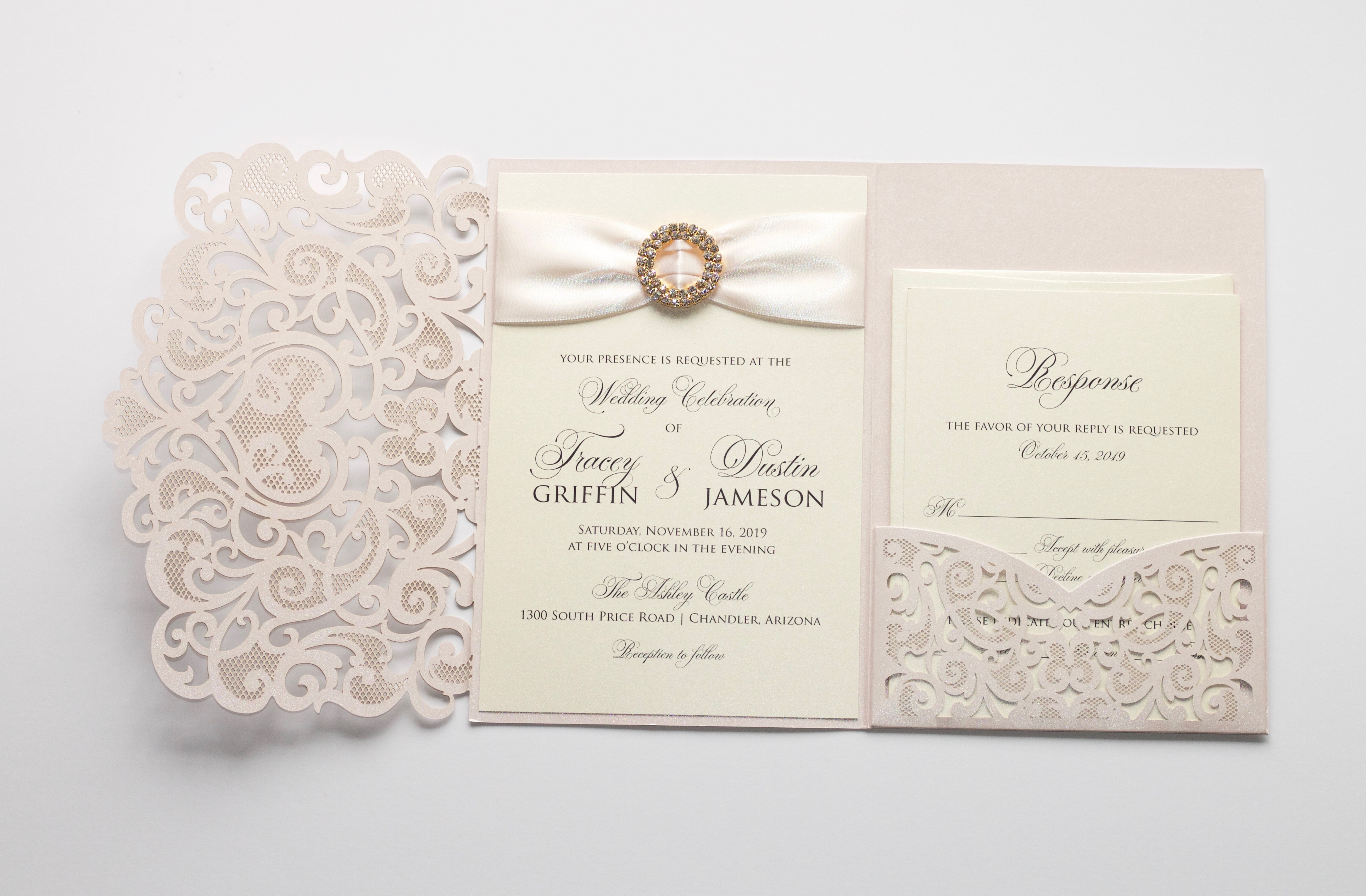 Blush And Ivory Wedding Invitations: TRACEY Blush And Ivory Laser Cut Invitation