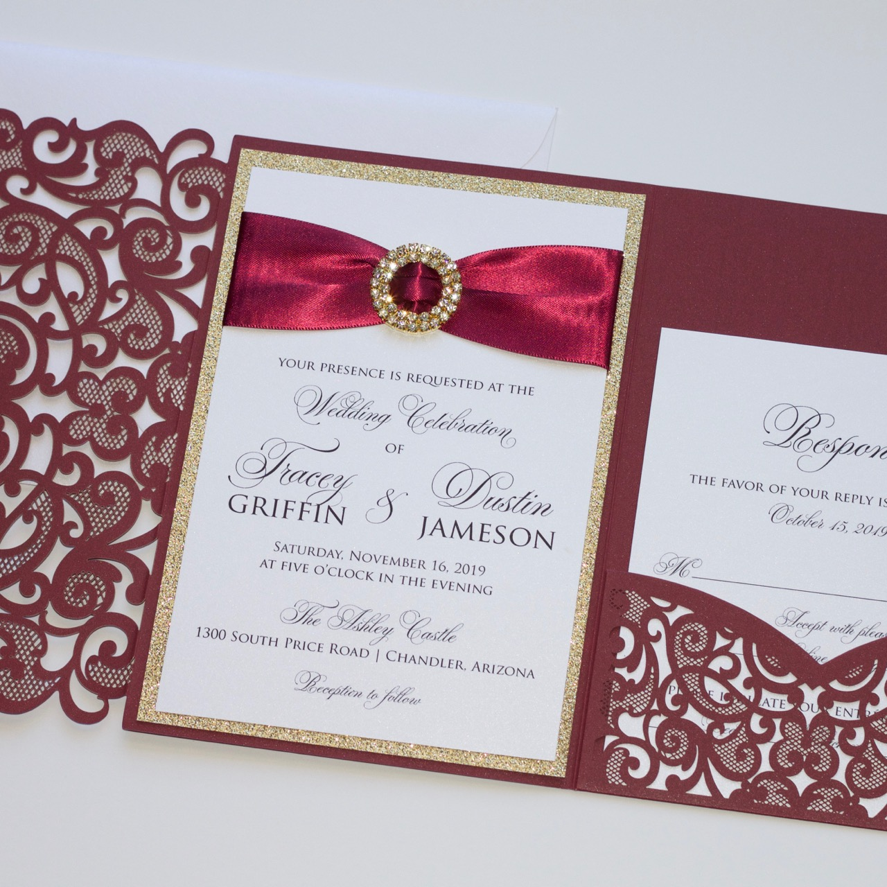 TRACEY Burgundy and Gold Laser Cut Invitation - Embellished Paperie LLC