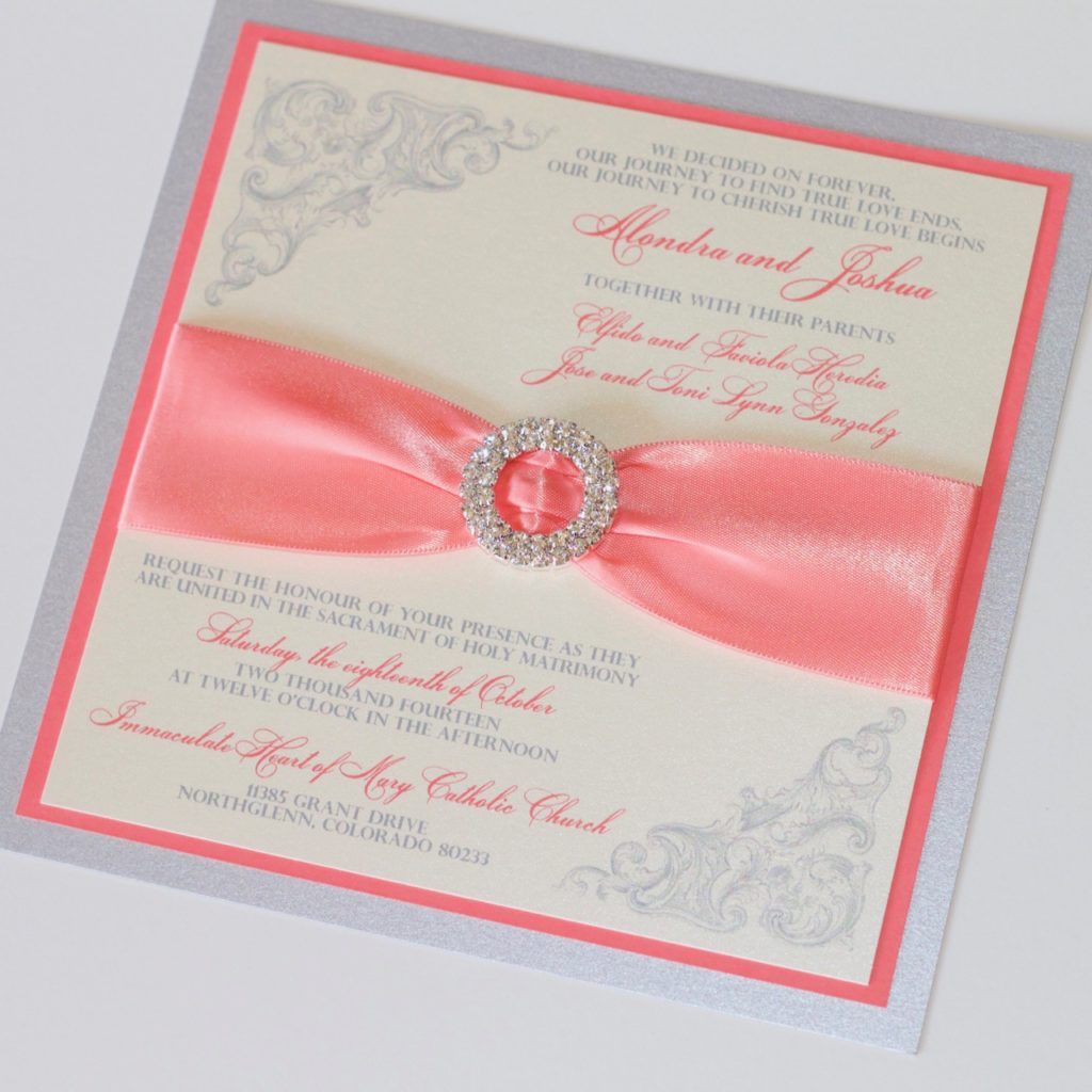 Couture Wedding Invitations in Coral, Ivory and Silver - Embellished ...