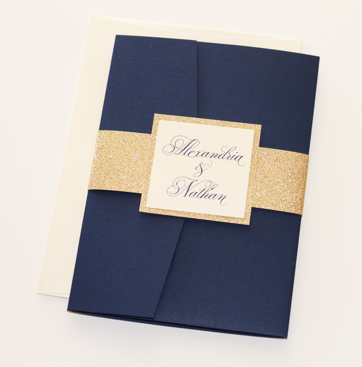 ALEXANDRIA Ivory, Navy Blue & Gold Glitter Invitation - Embellished Paperie  LLC