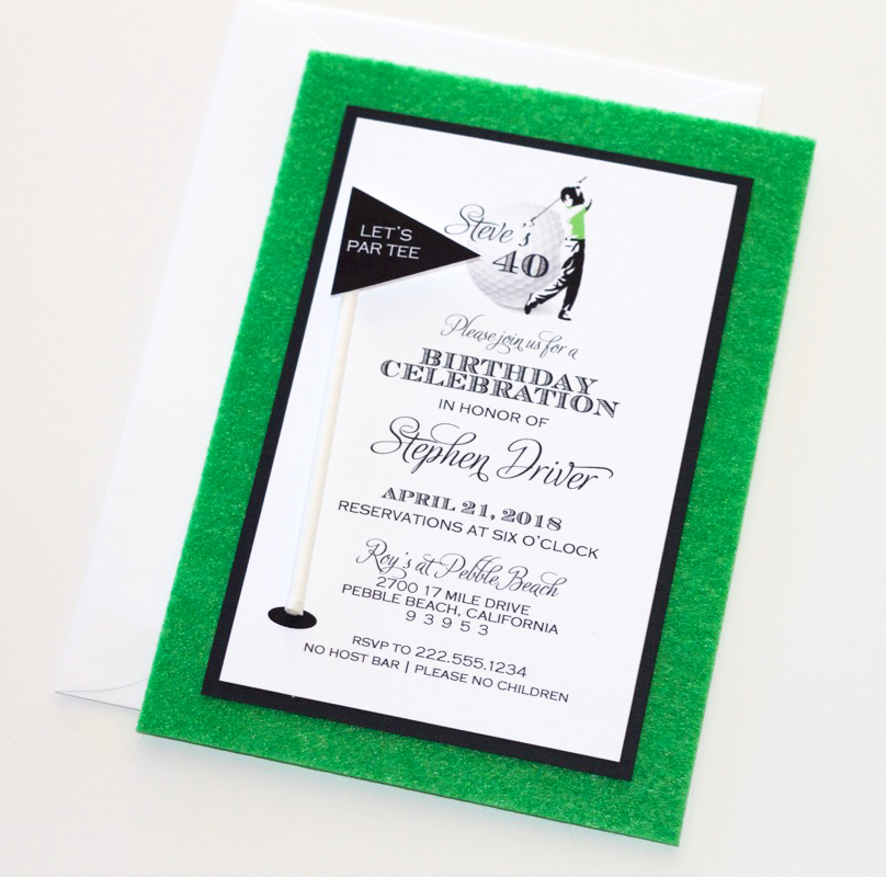 Golf Birthday Party Invitation With 3D Flag