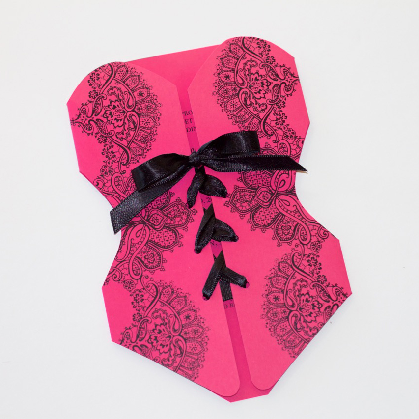 Lace Corset Bridal Shower Invitation Hot Pink And Black