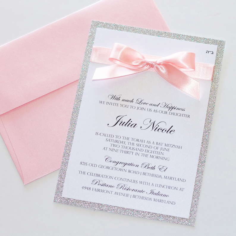 Bat Mitzvah Invitation Light Pink And