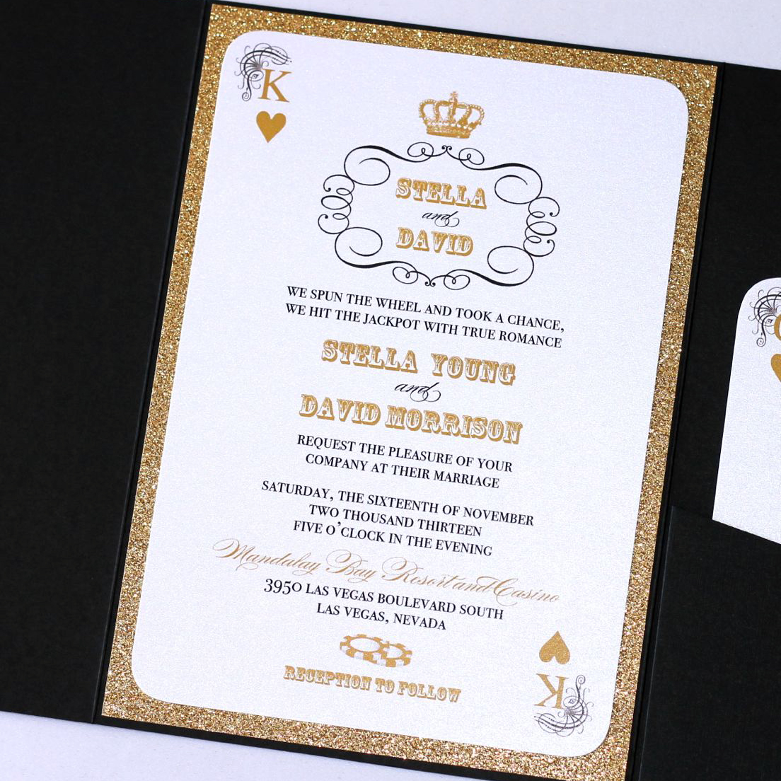 STELLA Las Vegas Wedding Invitation - Gold Glitter - Embellished ...