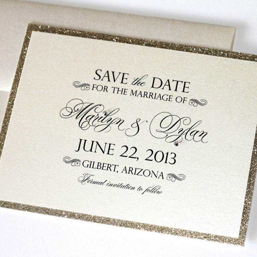 Marilyn Save The Date Card Ivory And Gold Glitter