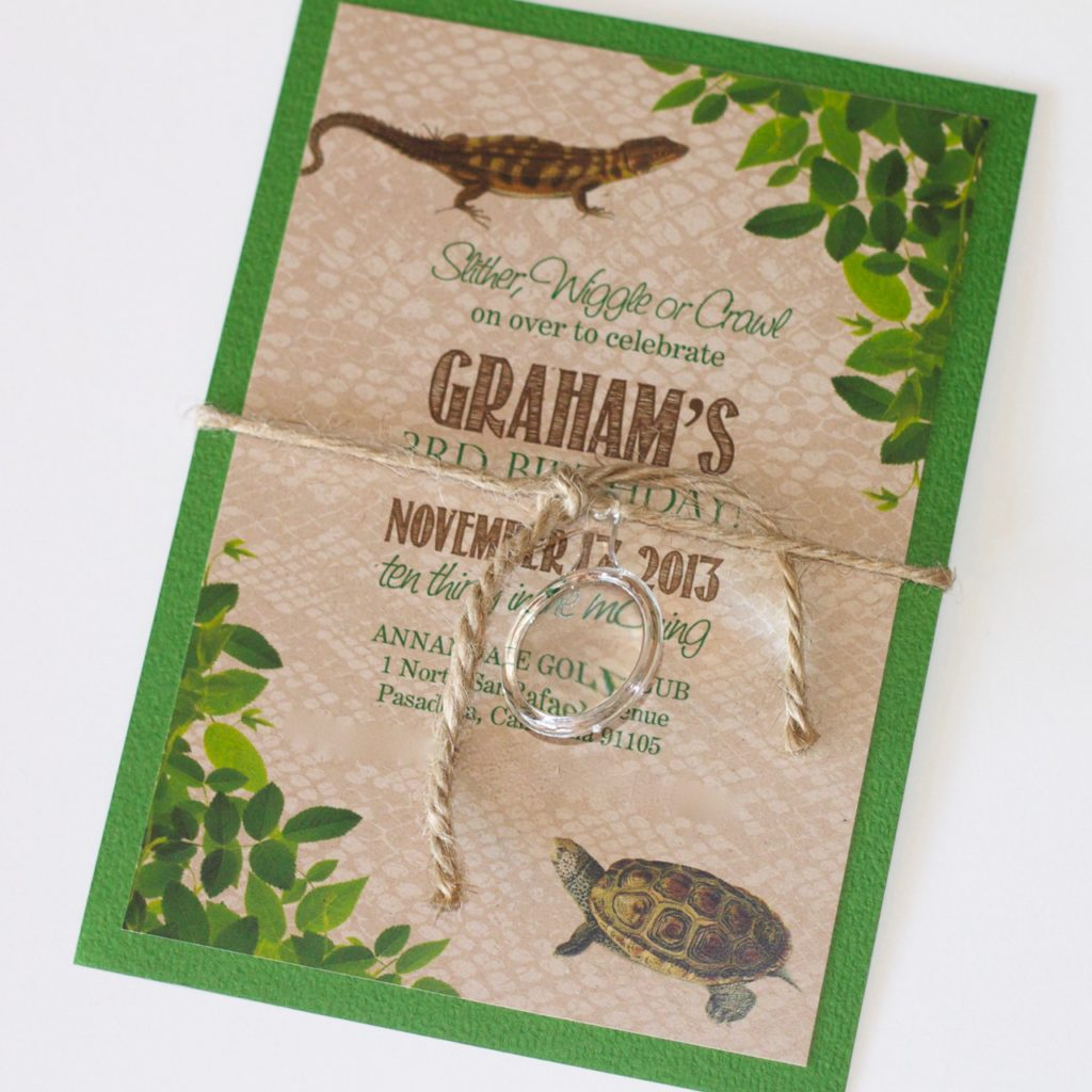 Reptile 3rd Birthday Invitation Embellished Paperie Llc
